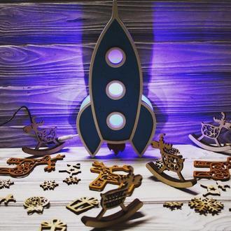 Деревянный светодиодный ночник - ракета