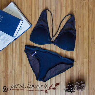 Комплект белья Blue Morning из шелковой сеточки