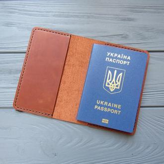 Обложка на паспорт из натуральной кожи_коричневая_225
