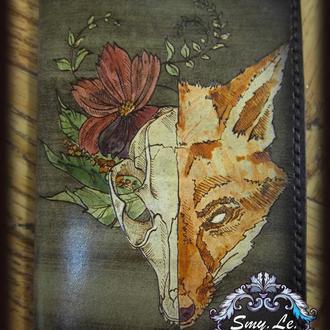 Кожаная обложка на паспорт Лиса