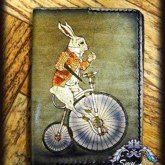 Обложка для паспорта, кролик из Алисы в стране чудес