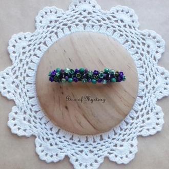 Заколка с миниатюрными цветами, цветочное украшение для волос, фиолетовые и зеленые цветы