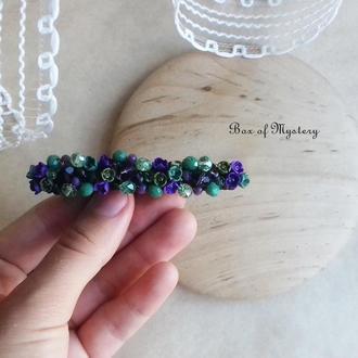 Заколка с миниатюрными цветами, цветочное украшение для волос, фиолетовые и зеленые цветы, 8 см