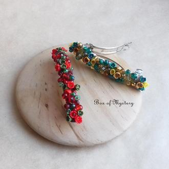 Красная заколка для волос с миниатюрными цветами, украшение для волос, подарок девушке