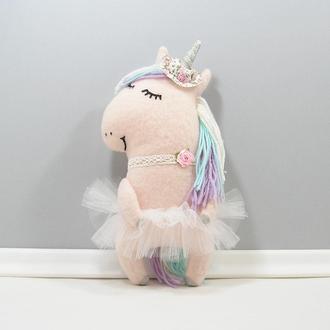 Розовая единорожка Мягкая игрушка лошадка Волшебный единорог Пастельный декор в комнату