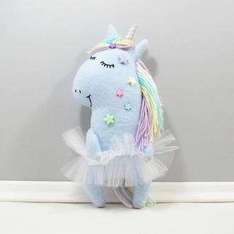 Звездная единорожка Ночь Мягкая нежно голубая лошадка Волшебный радужный единорог