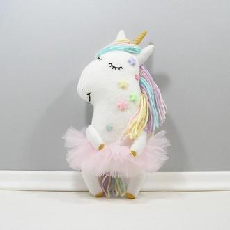 Звездная единорожка День Мягкая белая лошадка с золотом Волшебный радужный единорог в розовом
