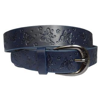 Flora синий кожаный женский ремень под джинсы с бабочками тиснением кожанный пояс кожа