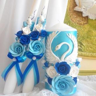"""Свадебные свечи """" Лебединая верность  """" в небесных тонах"""
