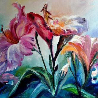 «Лілії», картина маслом, квіти, 60х80 см