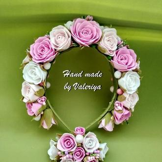обруч для волос и браслет на руку  в бело розовом цвете