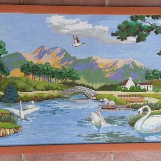 Большая картина вышитая вручную крестом, пейзаж, природа