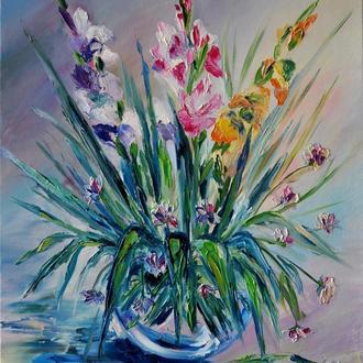 «Свежее утро», картина маслом, цветы в вазе, 60x50 см