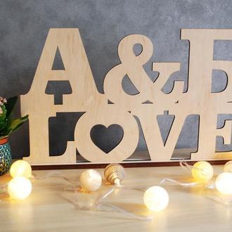 Инициалы молодых Слова из дерева Оформления фото зон Декор стола молодых Свадебные Инициалы