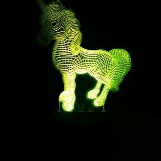 Единорог, ночник, лампа, светильник детский, в детскую, подарок ребенку, малышу, декор, дизайн