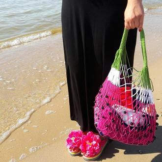 Арбузная авоська - экосумка, пляжная сумка, сумка для покупок, вязаная сумка