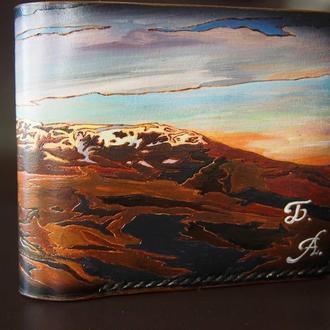 Кожаный бумажник, портмоне, кошелек горы, портмоне горы