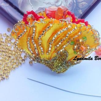 Брошь-подвеска желтый цветок