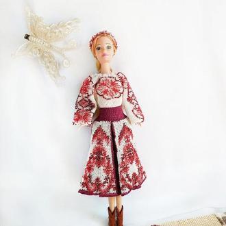 Украинский наряд для куклы Барби вязанный крючком с бисером