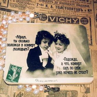"""Ретро магнит деревянный """"Свадьба"""""""