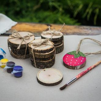 набор деревянных спилов для рисования или выжигания
