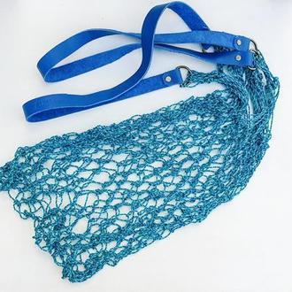 Авоська handsfree изумрудная с длинными синими кожаными ручками