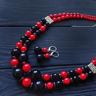 """Комплект украшений """"Вышиванка"""" ожерелье, серьги с серебряными застежками"""