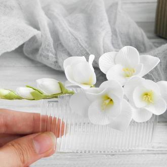 Гребень для волос с цветами белой фрезии, Свадебный гребешок