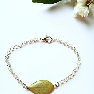 посріблений браслет з листочком
