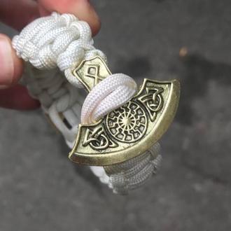 Браслет «Секира Перуна с кельтским крестом» белый