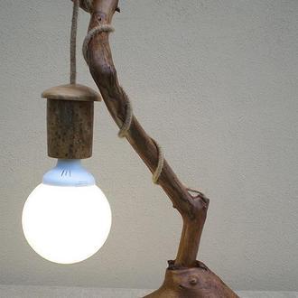 Деревянный LED cветильник настольный из элементов вяза, дуба, акации и яблони, ручная работа