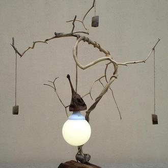 Деревянный LED cветильник, настольный из элементов вяза, яблони и ореха,  ручная работа