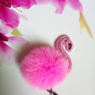 Брошь с мехом Фламинго
