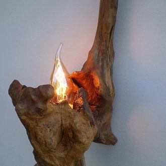 Деревянная настенная бра, лампа Эдисона из корня акации