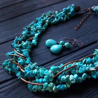 Комплект з бірюзи голубої намисто пишне  та сережки Бусы из бирюзы и серьги из бирюзы