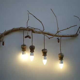 Настенный LED светильник, из дерева