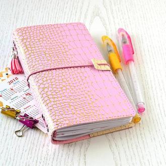 Планер. Midori-блокнот со сменными вставками. Розовый