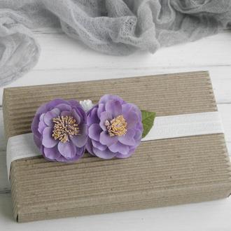 Повязка для малышки с цветами, подарок девочке