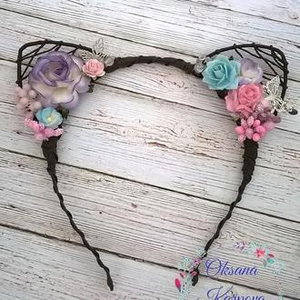 Обруч Кошачьи ушки с цветами