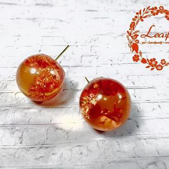 Серьги шарики оранжевые