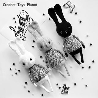 Кролик игрушка Зайчик игрушка Черный зайчик Серый зайчик Белый зайчик