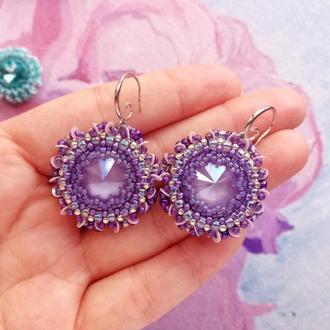 Серьги Фиолетовые бублики