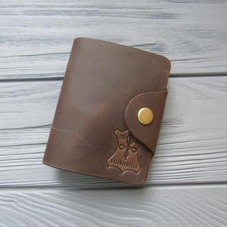 Кожаный картхолдер на 20 карт_Визитница для карточек_шоколад
