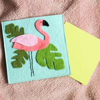 Фетровая открытка - фламинго