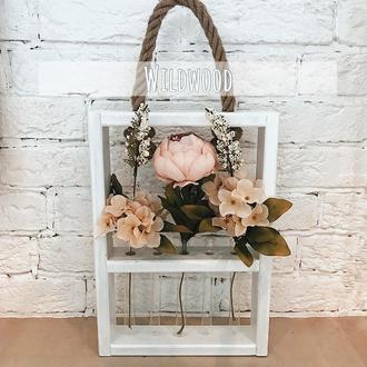 Деревянная рамка для цветов с пробирками, колбами для декора комнаты