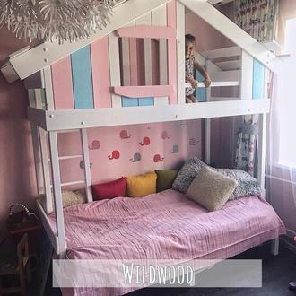 Детская кровать чердак домик двухэтажная ww1