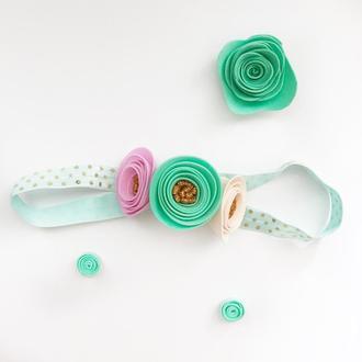 Повязка для волос с цветами из фоамирана.