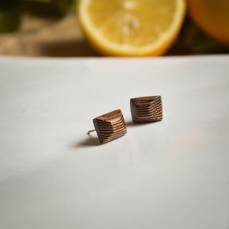 Тендітні сережки з екзотичної деревини венге