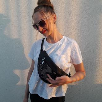 Эксклюзивная бананка женская поясная сумка с паетками черно-серербреными хамелеон