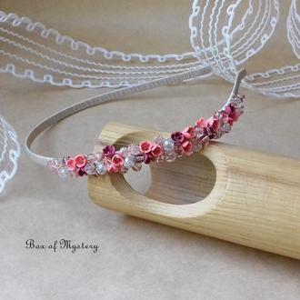 Нежный розовый обруч с цветами, обруч для волос, цветы, подарок девушке